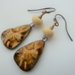 ceramic hare, lampwork and copper earrings
