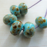 blue raku frit lampwork glass beads