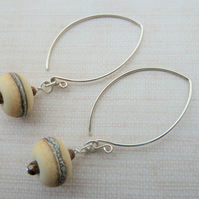 ivory lampwork and sterling silver earrings