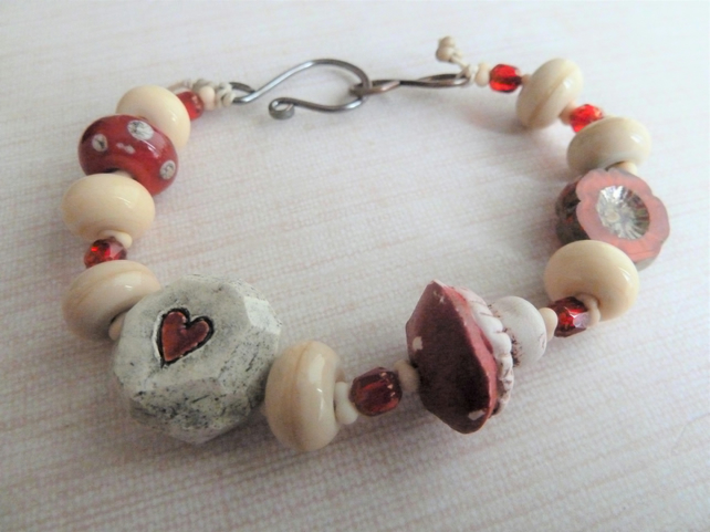 toadstool lampwork and ceramic bracelet