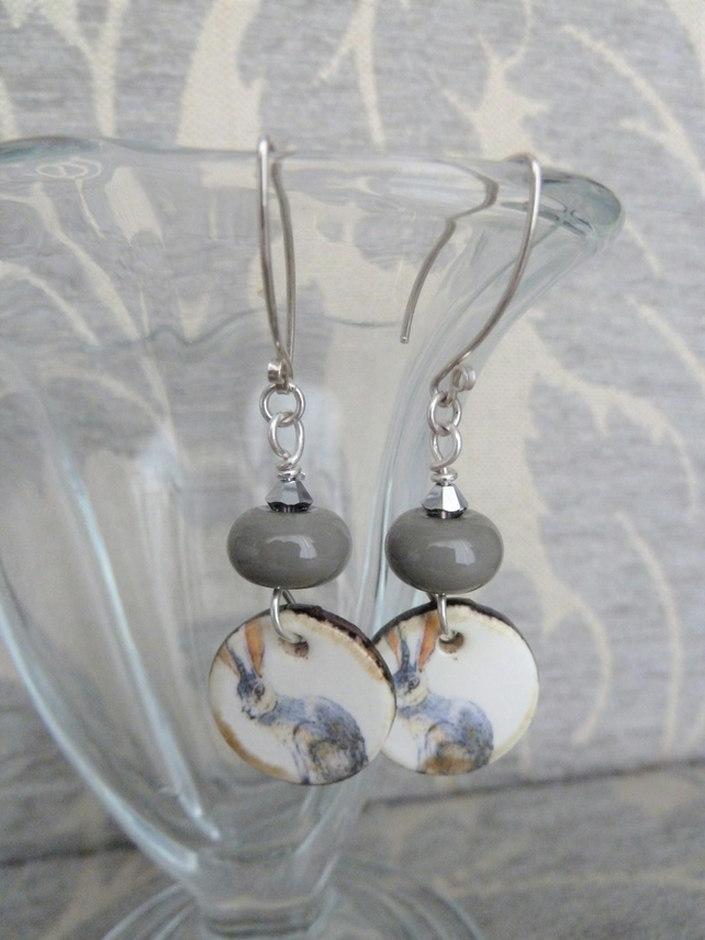grey hare ceramic, lampwork and sterling silver earrings