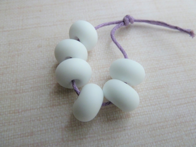 white tumbled spacer lampwork glass beads