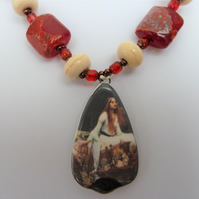 lady of shalott lampwork glass necklace
