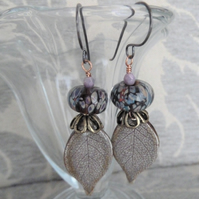 copper, lampwork and ceramic leaf earrings
