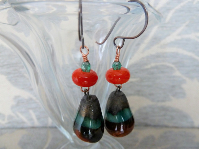 orange and green lampwork, ceramic and copper earrings