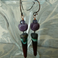 purple ceramic spike lampwork earrings