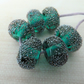 teal stardust lampwork glass beads