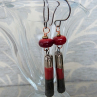 copper, red and gold lampwork and ceramic earrings