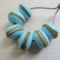 blue tumbled lampwork glass beads