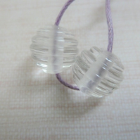clear ribbed lampwork glass beads