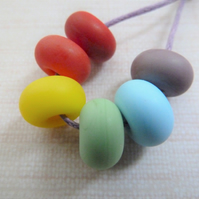 rainbow lampwork glass spacer beads