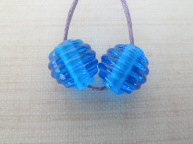 blue ribbed handmade lampwork glass beads