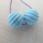 baby blue ribbed pair, handmade lampwork glass beads