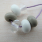 clear, white and grey lampwork glass spacer beads