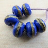 blue wrapped handmade lampwork glass beads