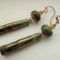 green metal lampwork, copper and ceramic earrings