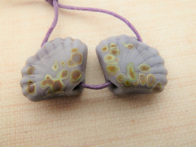 purple raku lampwork shell beads