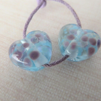 purple and blue frit lampwork glass heart beads