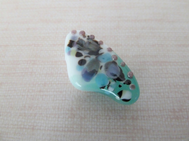 white and green lampwork glass butterfly wing pendant