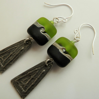 sterling silver, lampwork and pewter earrings