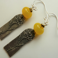 sterling silver, yellow lampwork and pewter earrings