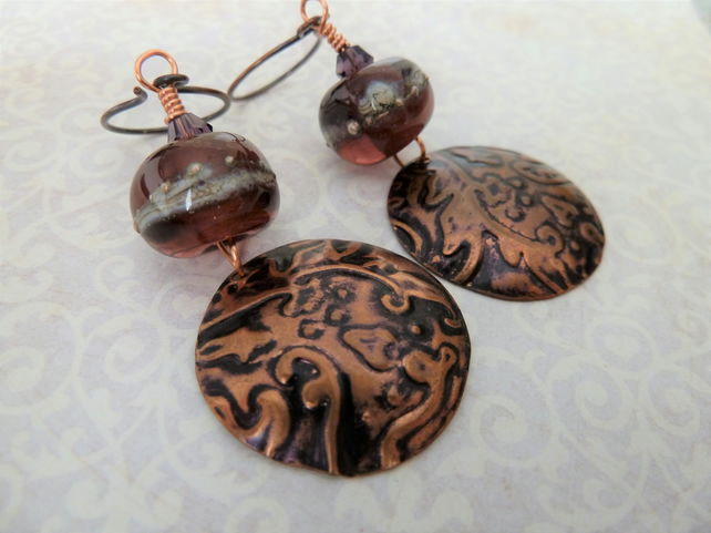 copper disc and lampwork earrings