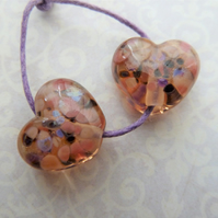 pink frit lampwork glass heart beads