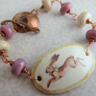 pink ceramic hare lampwork and copper bracelet