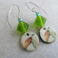 green turtle lampwork, ceramic and sterling silver earrings