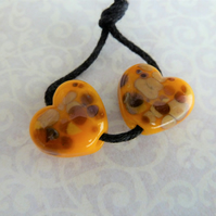 yellow frit hearts lampwork glass beads