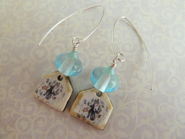 sterling silver, blue lampwork and ceramic hare earrings