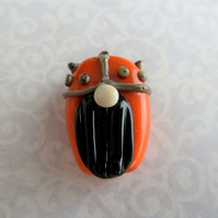 orange viking lampwork glass bead