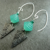 sterling silver, green lampwork and pewter charm earrings