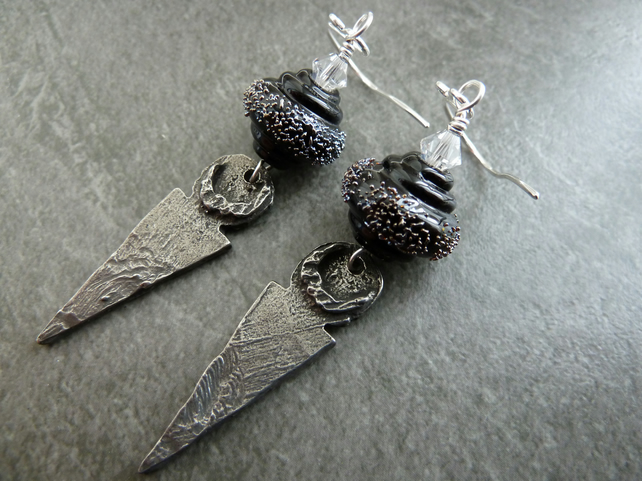 sterling silver, black lampwork and pewter charm earrings