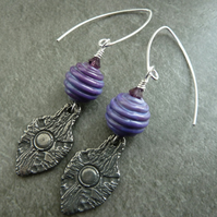 sterling silver, purple lampwork and pewter shield earrings