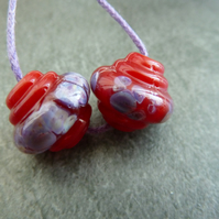red and purple frit ornate lampwork glass beads