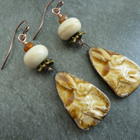 copper, lampwork and ceramic hare earrings