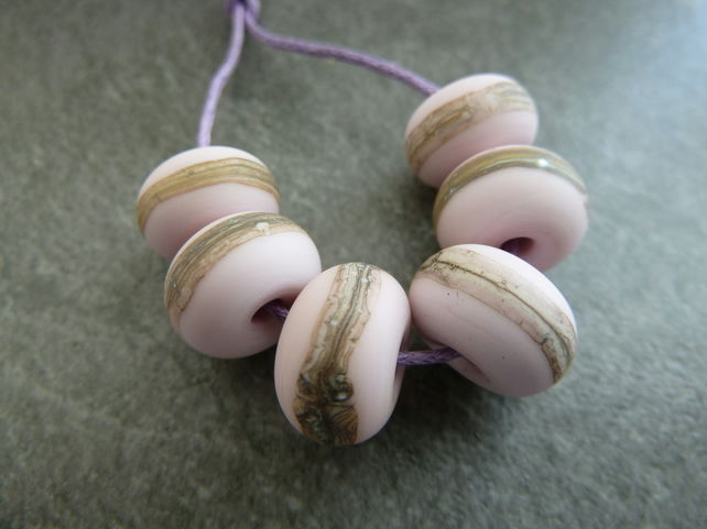 pink wrapped lampwork glass beads