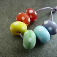 rainbow spots, etched lampwork glass beads