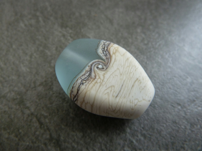 aqua sand lampwork glass focal bead