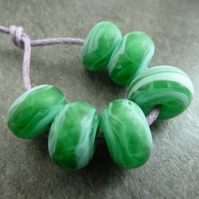 green tumbled lampwork glass beads