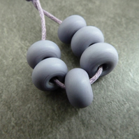purple tumbled spacer, lampwork glass beads