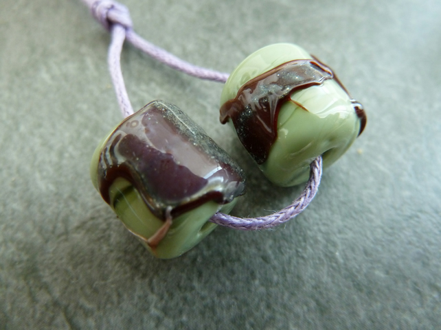 green and red shard lampwork glass beads