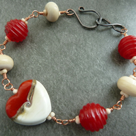 red heart lampwork and copper bracelet