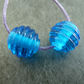 blue ribbed lampwork glass beads