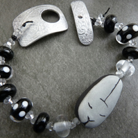 porcelain rabbit, lampwork and aluminium bracelet