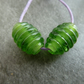 green oval lampwork glass beads