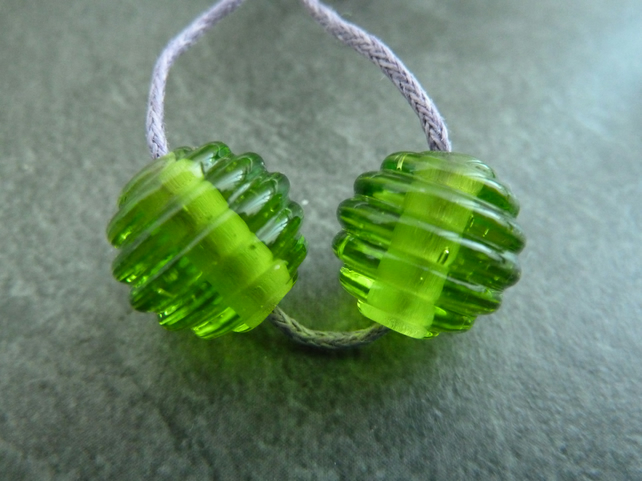 green ribbed lampwork glass beads