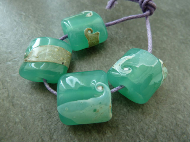 green and ivory shard lampwork glass beads