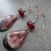 red and blue copper, lampwork and ceramic earrings